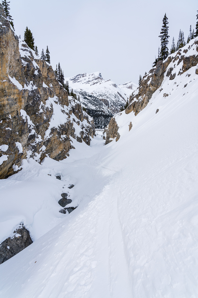 Exiting the Bow Canyon.
