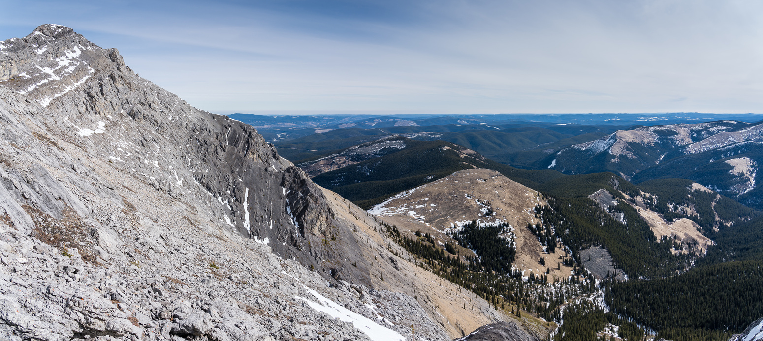 Looking back to the false summit (L) and SE Hill (C).