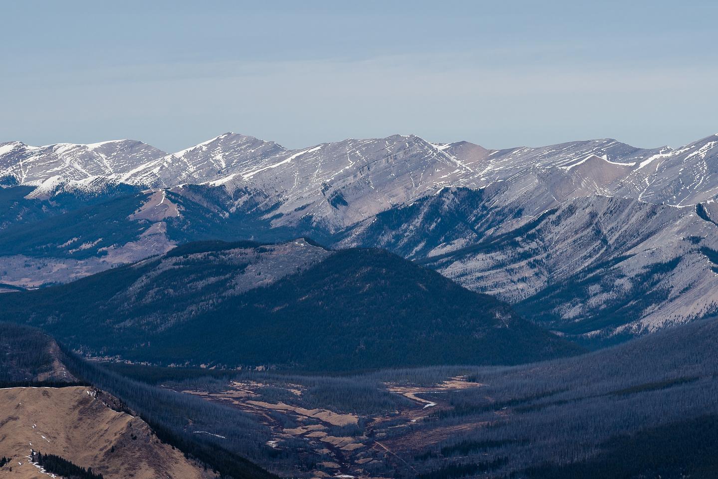 Views over Labyrinth Peak to Evangeline and Poplar.
