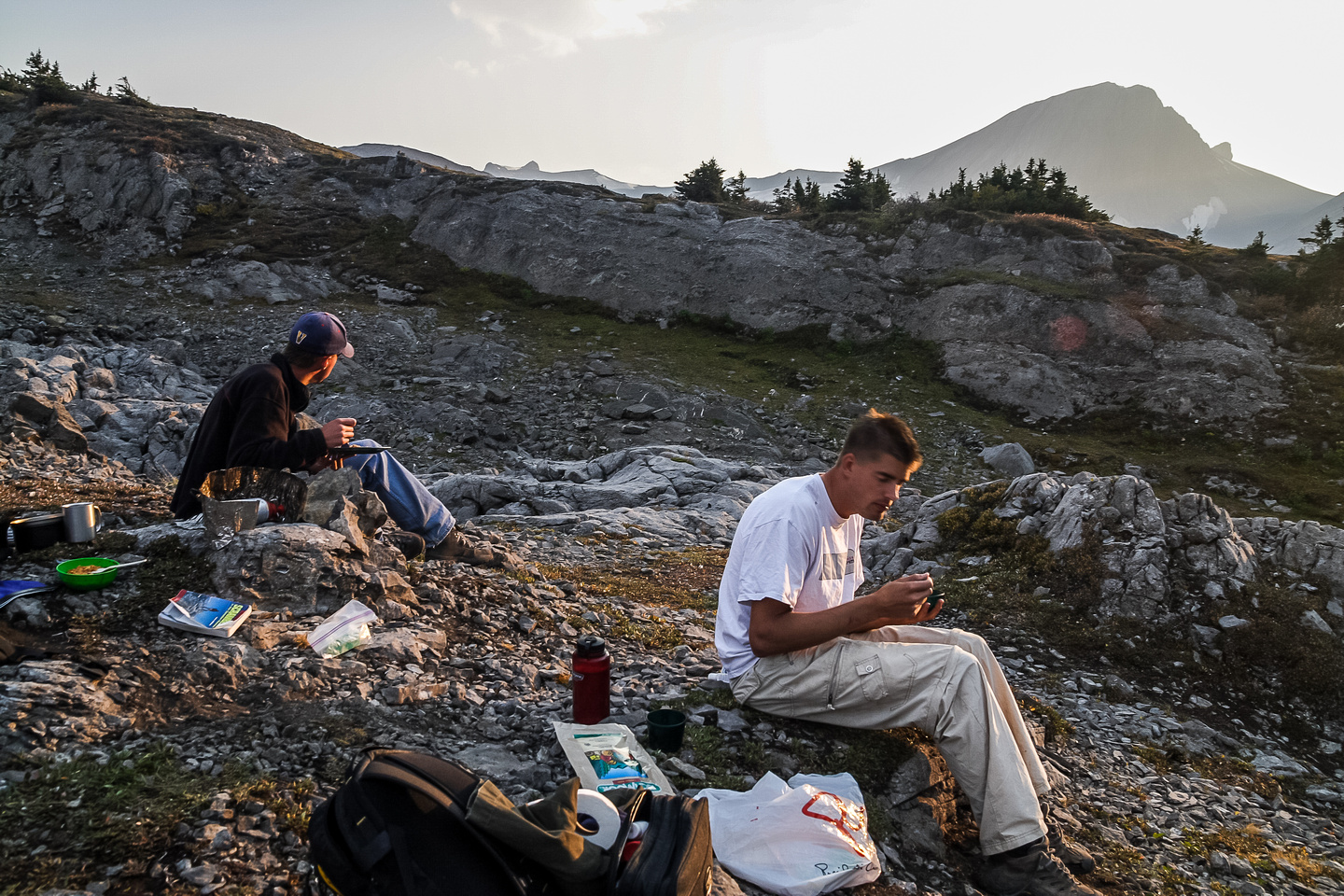 Evening at camp after scrambling Warrior, Cordonnier and Northover.