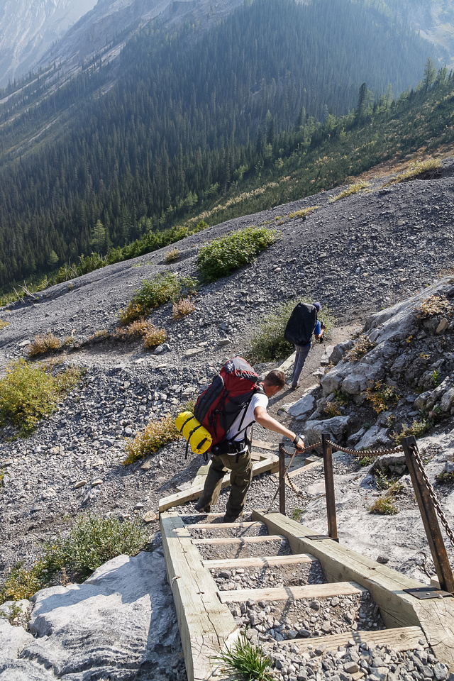 The stairs make short work of the cliffs around the headwall.