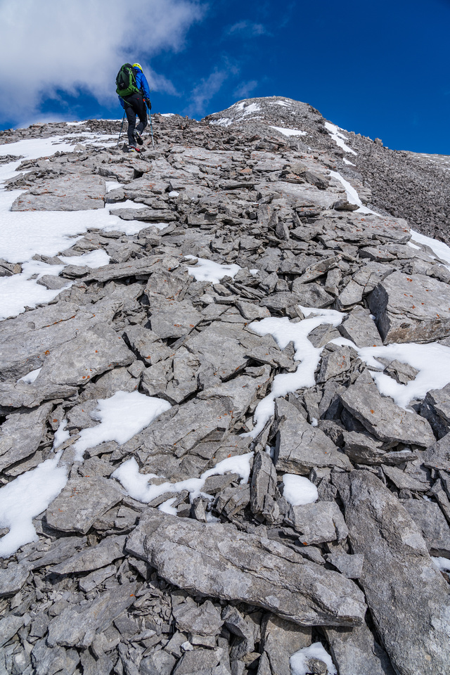 Phil ascends the easy SW summit ridge.