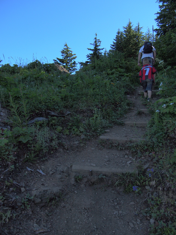 Josh and Serge negotiate the stairs that someone kindly built on the steep upper section of the hike.