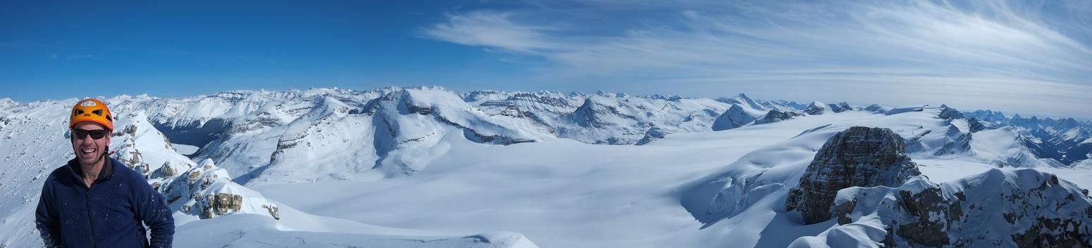 Summit panorama includes Thompson, Portal, Crowfoot, Vulture, St. Nicholas, Olive, Rhondda and Gordon (L to R).
