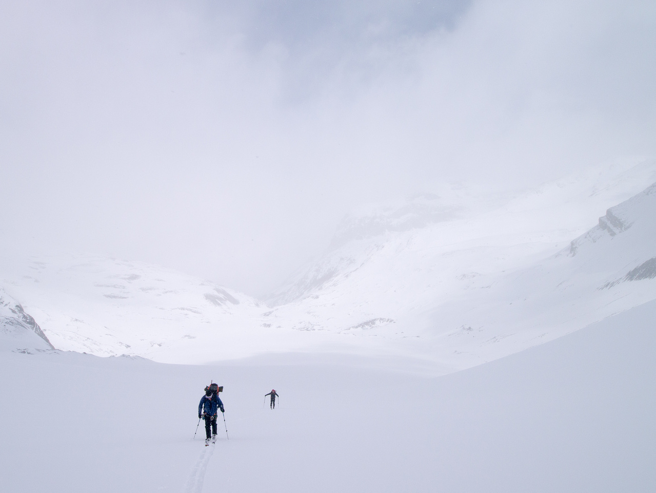 Ascending the Peyto Glacier to the Peyto Hut.