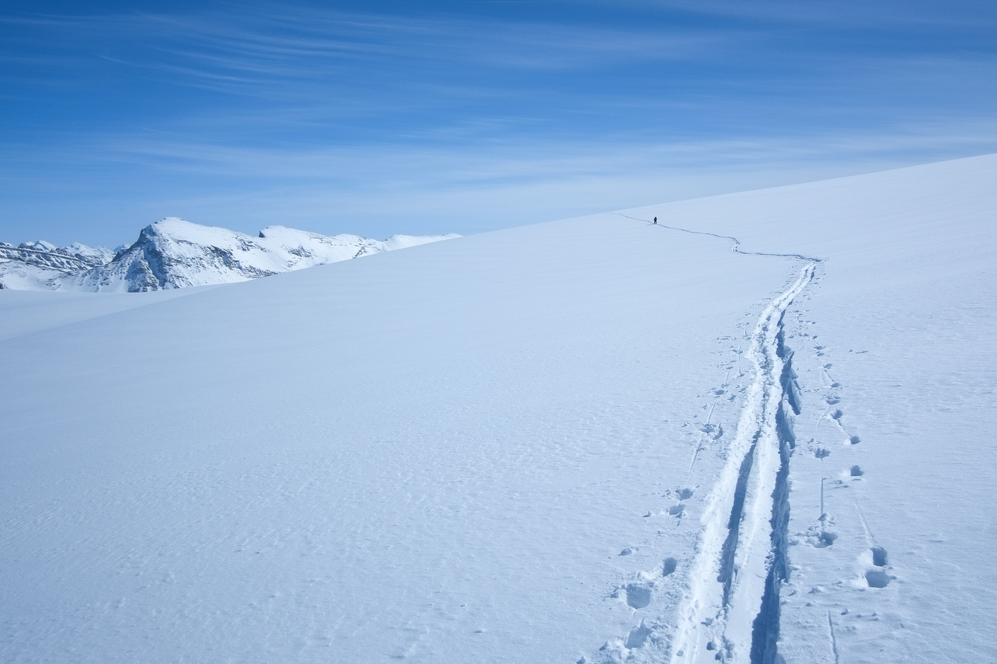 There is a slight ascent on the way back to the Bow Hut. Not bad, but I skinned up for it.