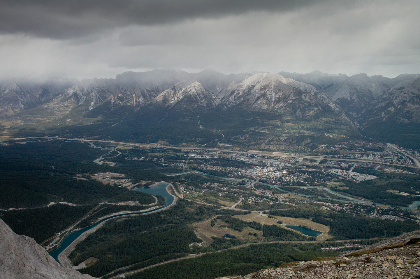 Views over the town of Canmore.