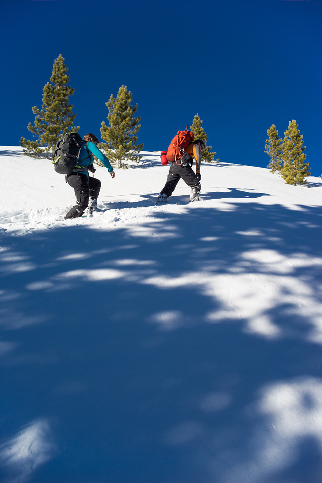 Working our way up steep, unconsolidated, sugary snow.