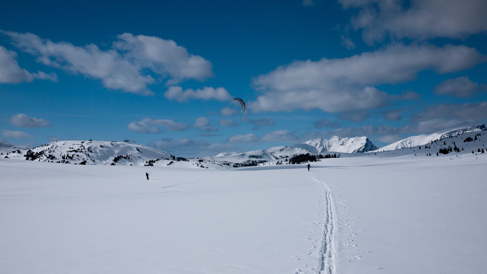 Skiing back through Sunshine Meadows.