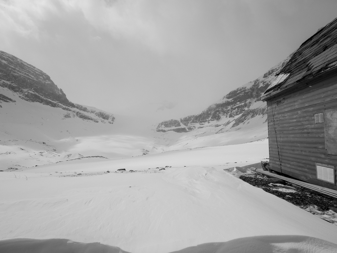 At the research station - Peyto Glacier in a near whiteout.