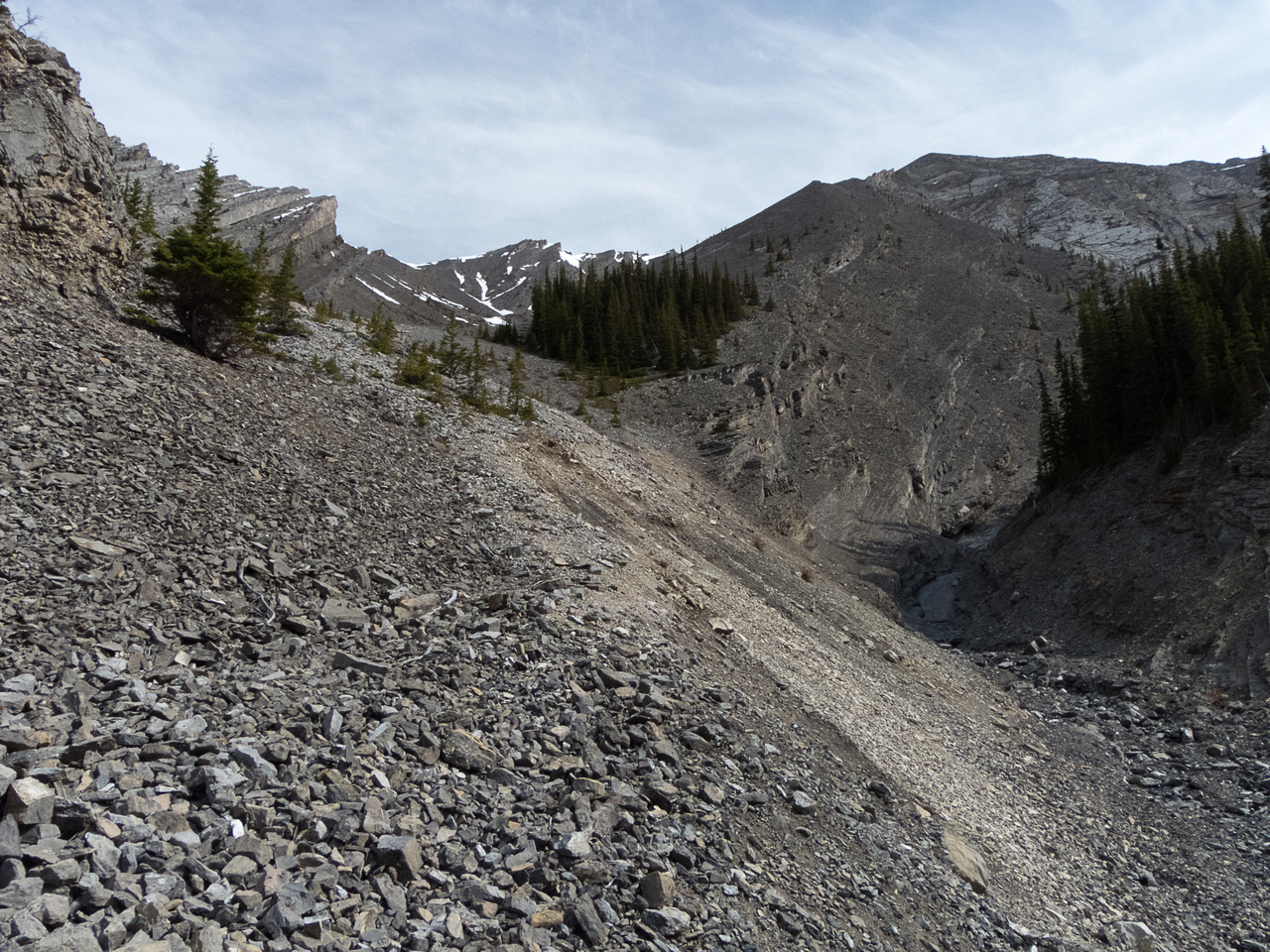 Here is where you leave the creek bed and angle to climber's left. There is still a LOT of elevation gain at this point.