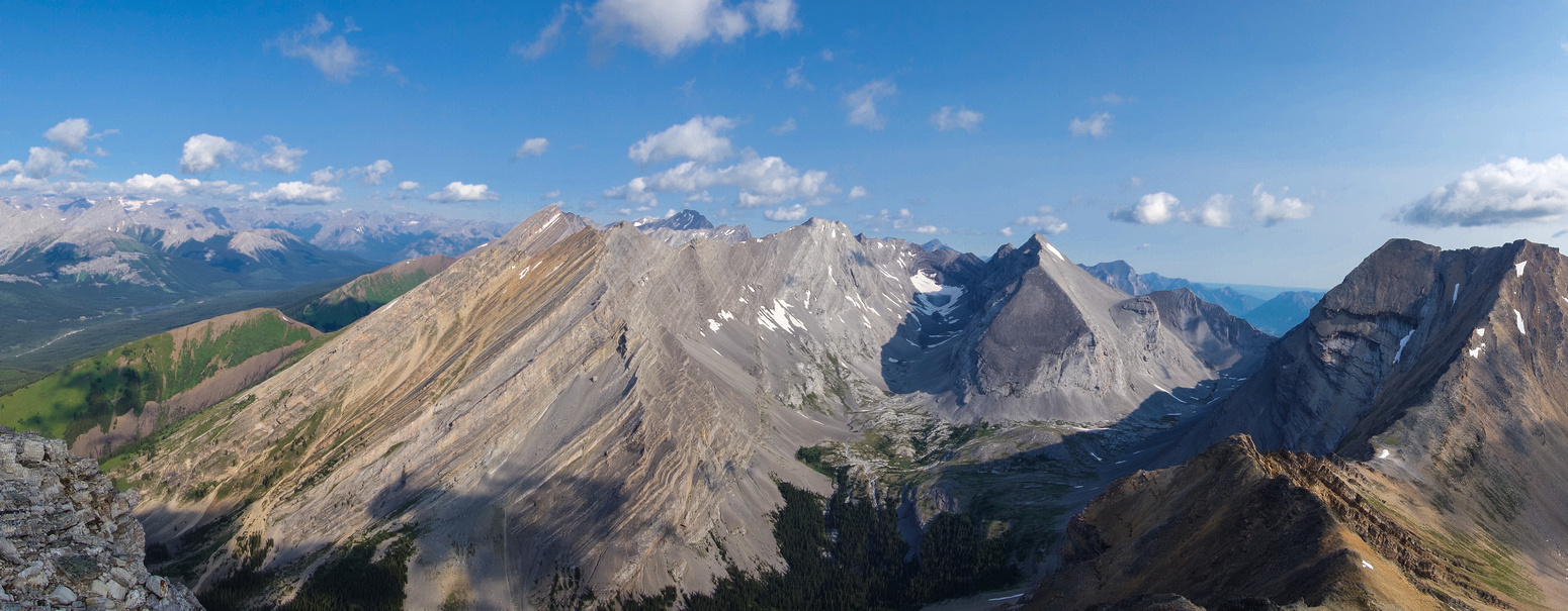 Panorama looking towards Mount Chester, James Walker and Inflexible on the far right.