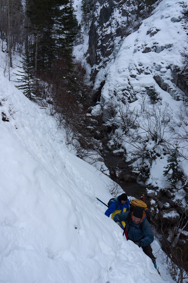The narrow section of creek bed canyon is a bit tricky to get through in winter. The waterfall is opposite us here.