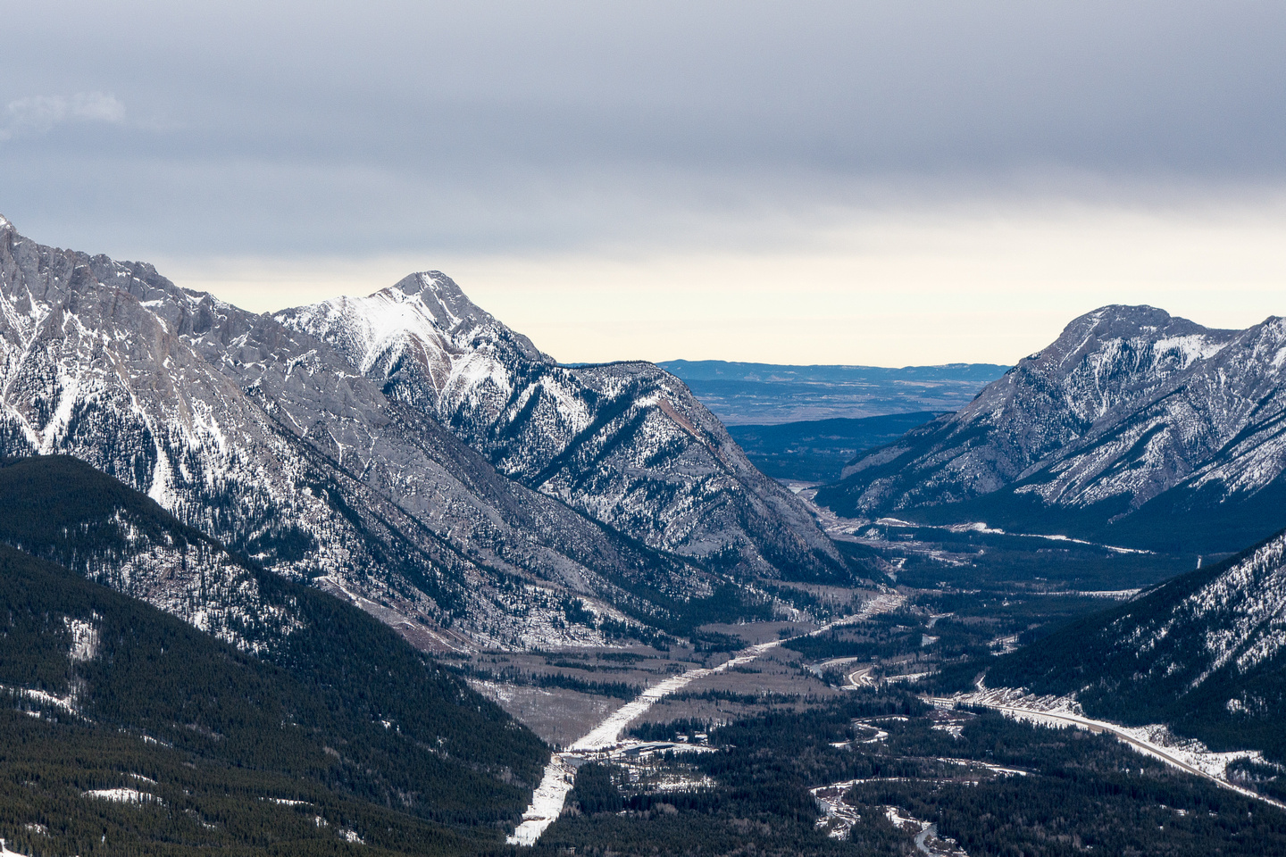 "A cool view through the hwy 40 ""gap"" which is the exit from Kananaskis Country."