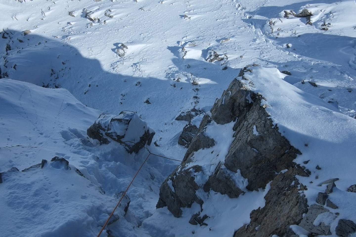 Descending to the crux.