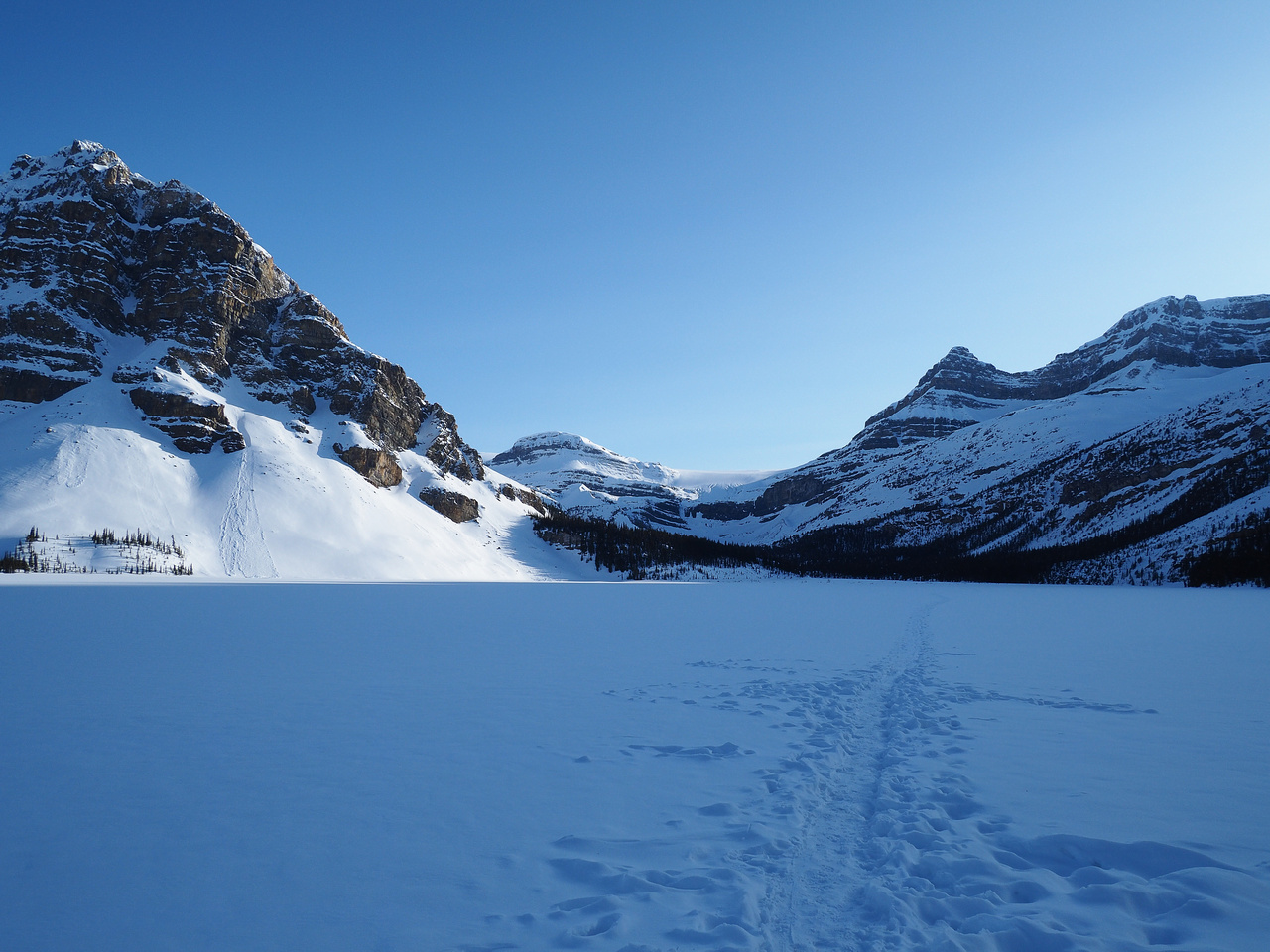 Skiing across Bow Lake on May 7th. Hoping we don't fall through the ice... A nice evening.