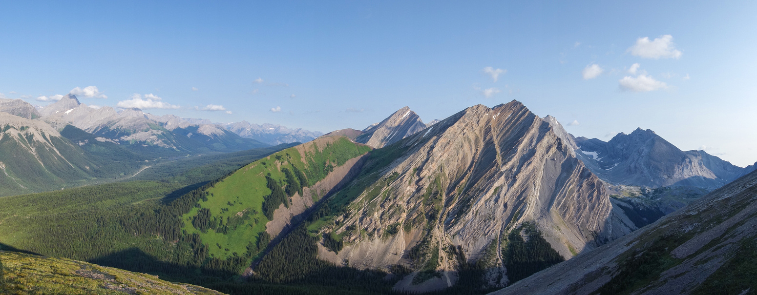 Looking up towards James Walker (R) with Chester on the left and an unnamed peak at center.