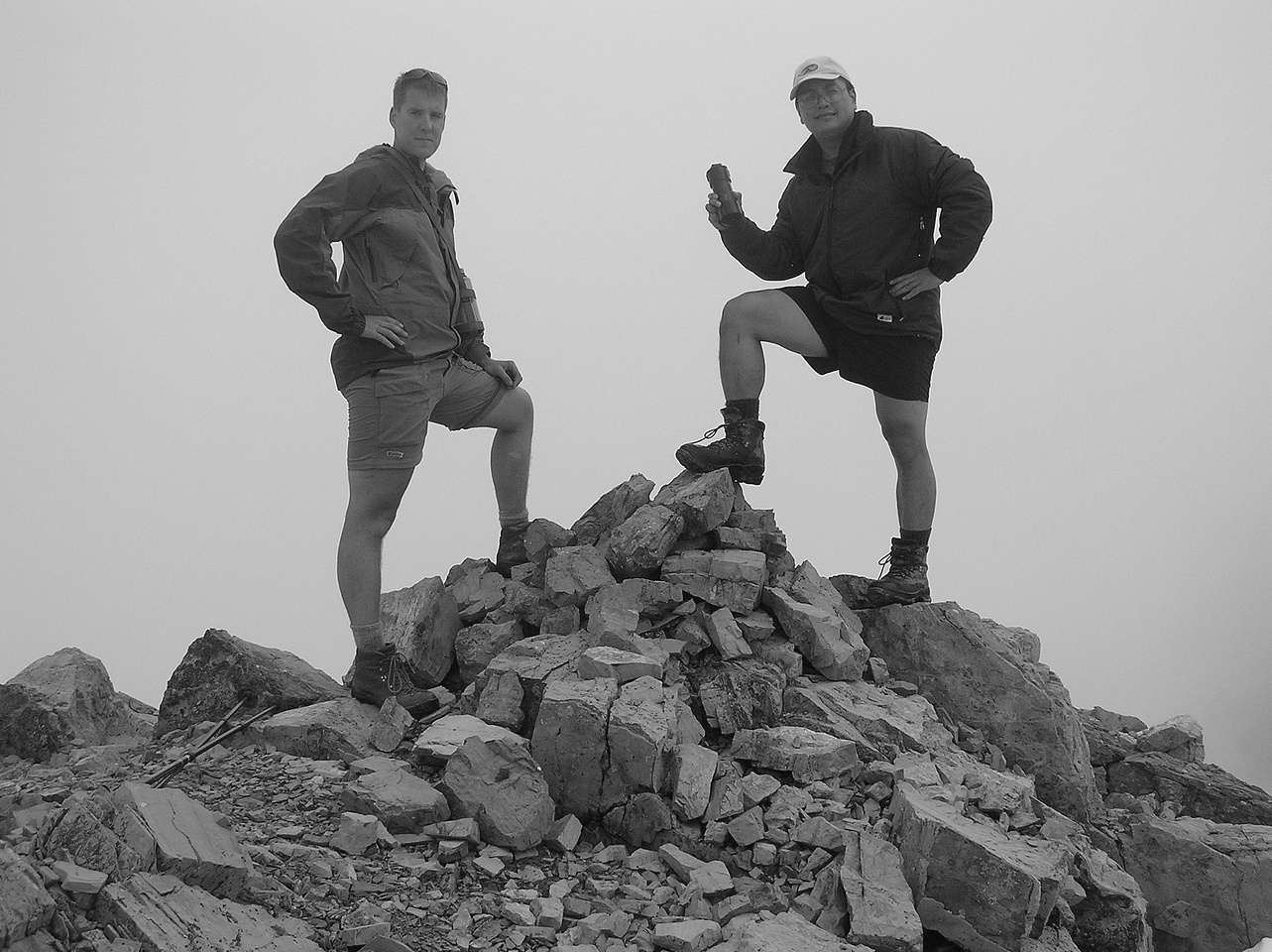 Vern and Sonny on the summit of Mount Cory - 2004.