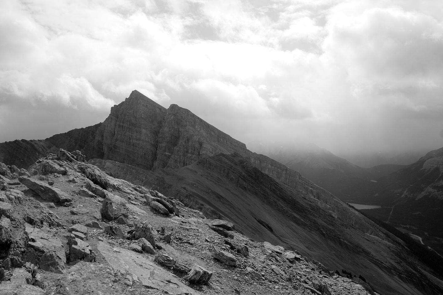 Looking back at Miners Peak from the summit of Ha Ling as the weather continues to suck. But it gave dramatic photos at least!