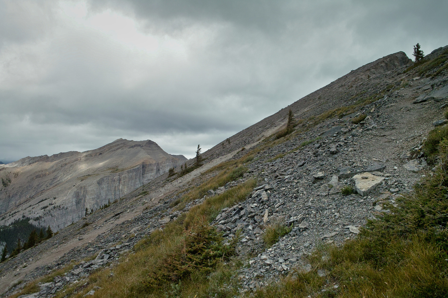 Looking back at the route up to Ha Ling's summit as I cut over to Miner's Peak. EEOR in the background.