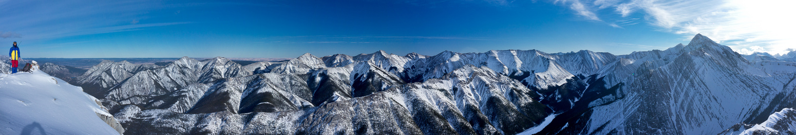 Summit panorama looking east includes Wasootch and Porcupine Ridges, Baldy, Midnight, Midday, Boundary and Tiara Peak.