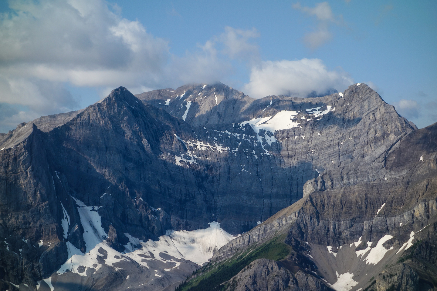 Looking across the Spray Lakes road to Mount French and Smith Dorrien.