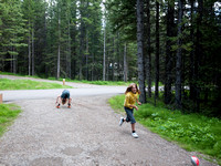 Playing football at the campground.