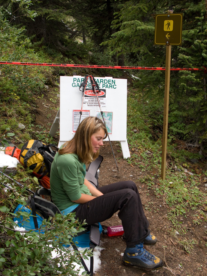 This is where the hiking trail is closed at the top of Assiniboine Pass due to Grizzly activities.