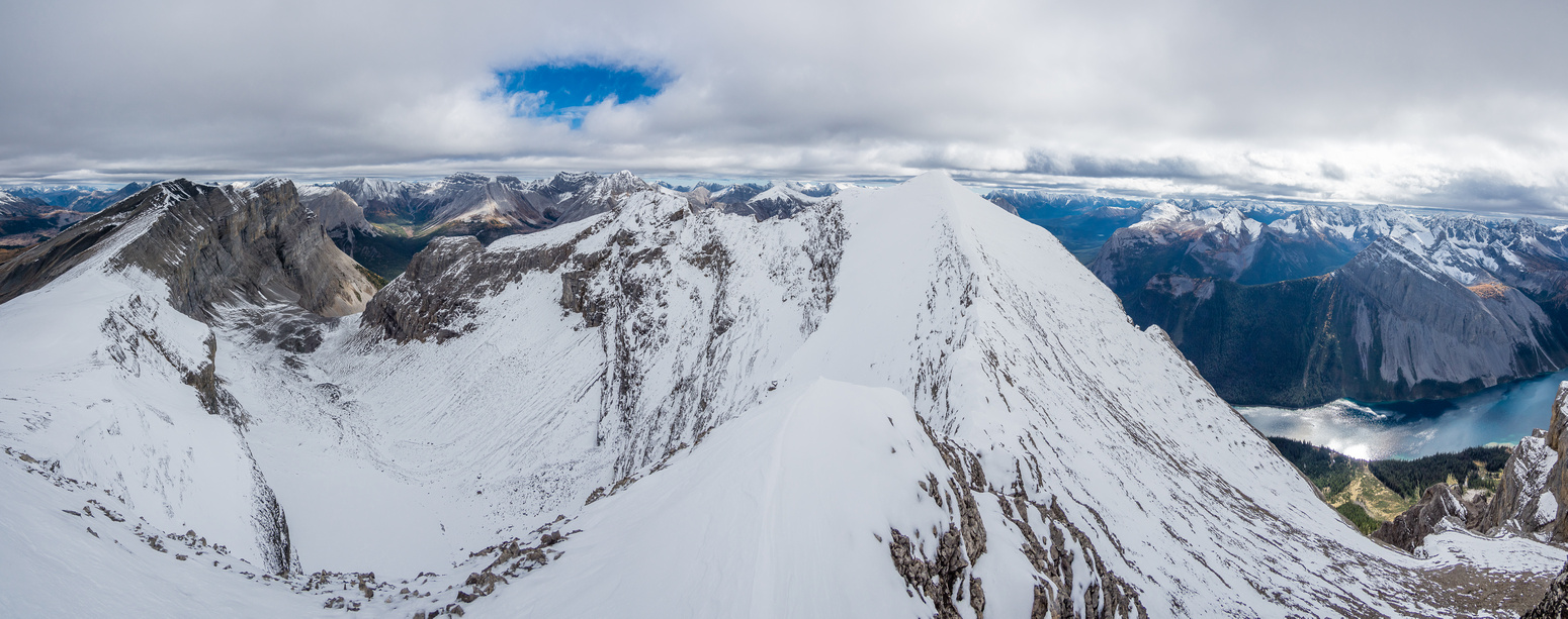 Pano of the east ridge at my turn-around point due to another exposed, snowy, icy drop-off. Cautley on the left and Marvel Lake on the right.