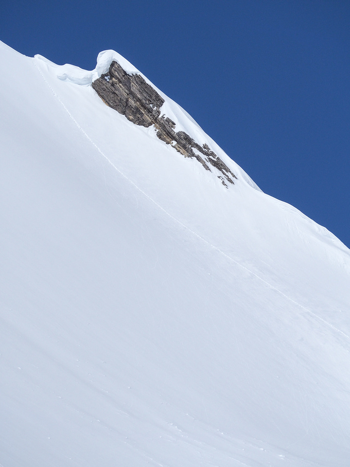 A zoomed in shot of our track up the snow slope - you can see how it gradually steepens near the summit ridge.