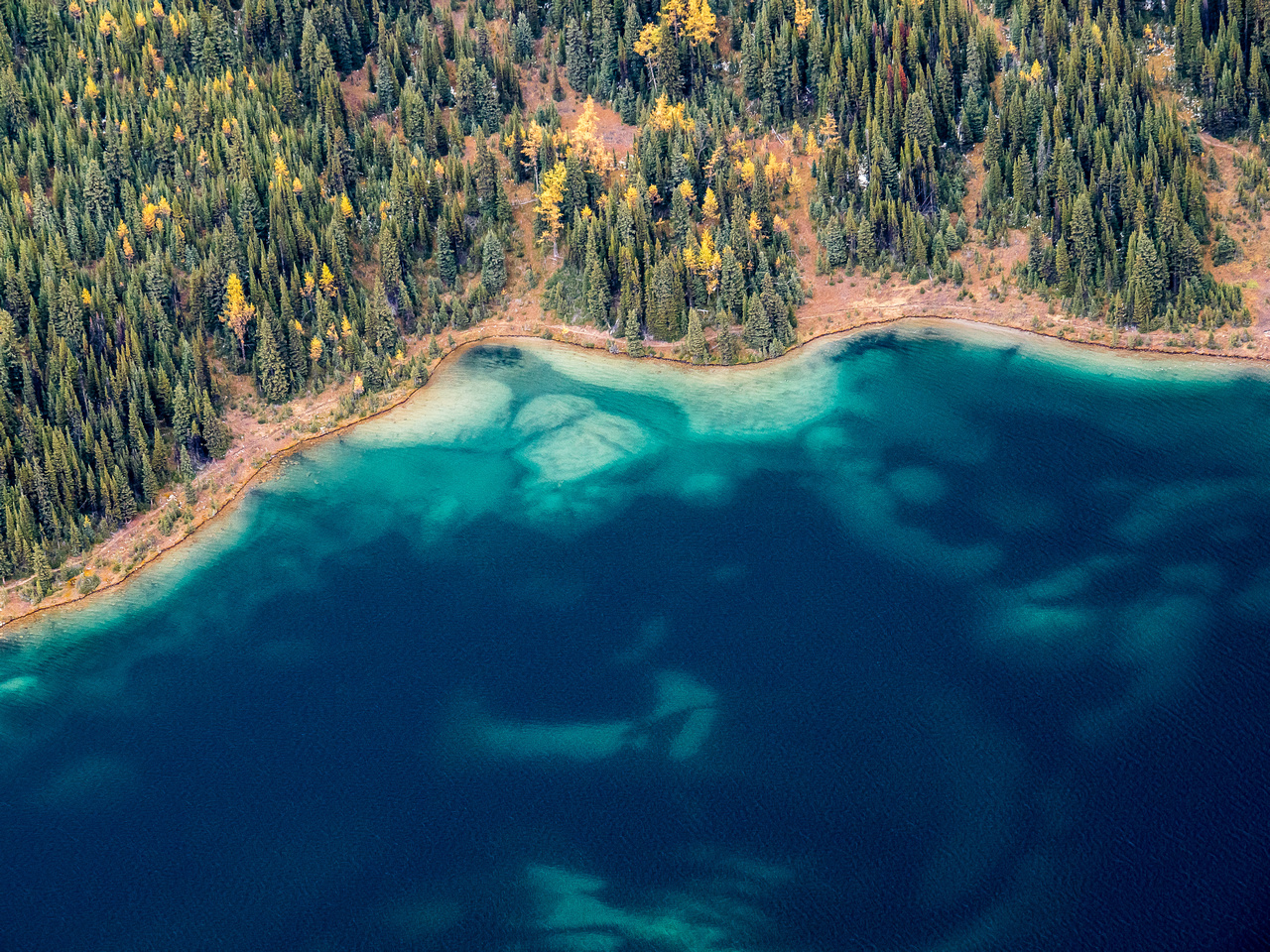 Brilliant colors of Cerulean Lake. Elizabeth Lake just visible at top.