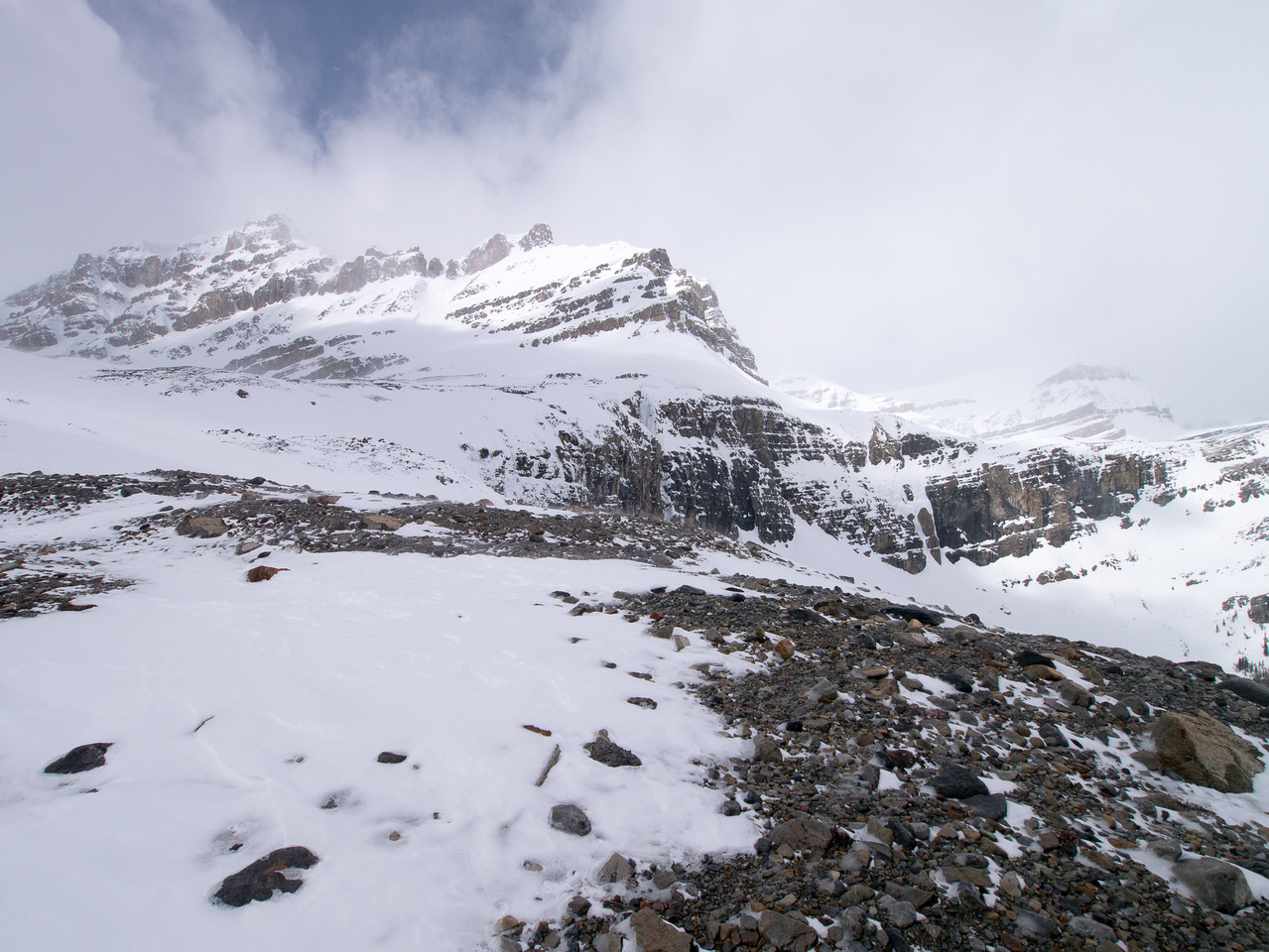 On the wind hammered moraine looking at Peyto Peak.