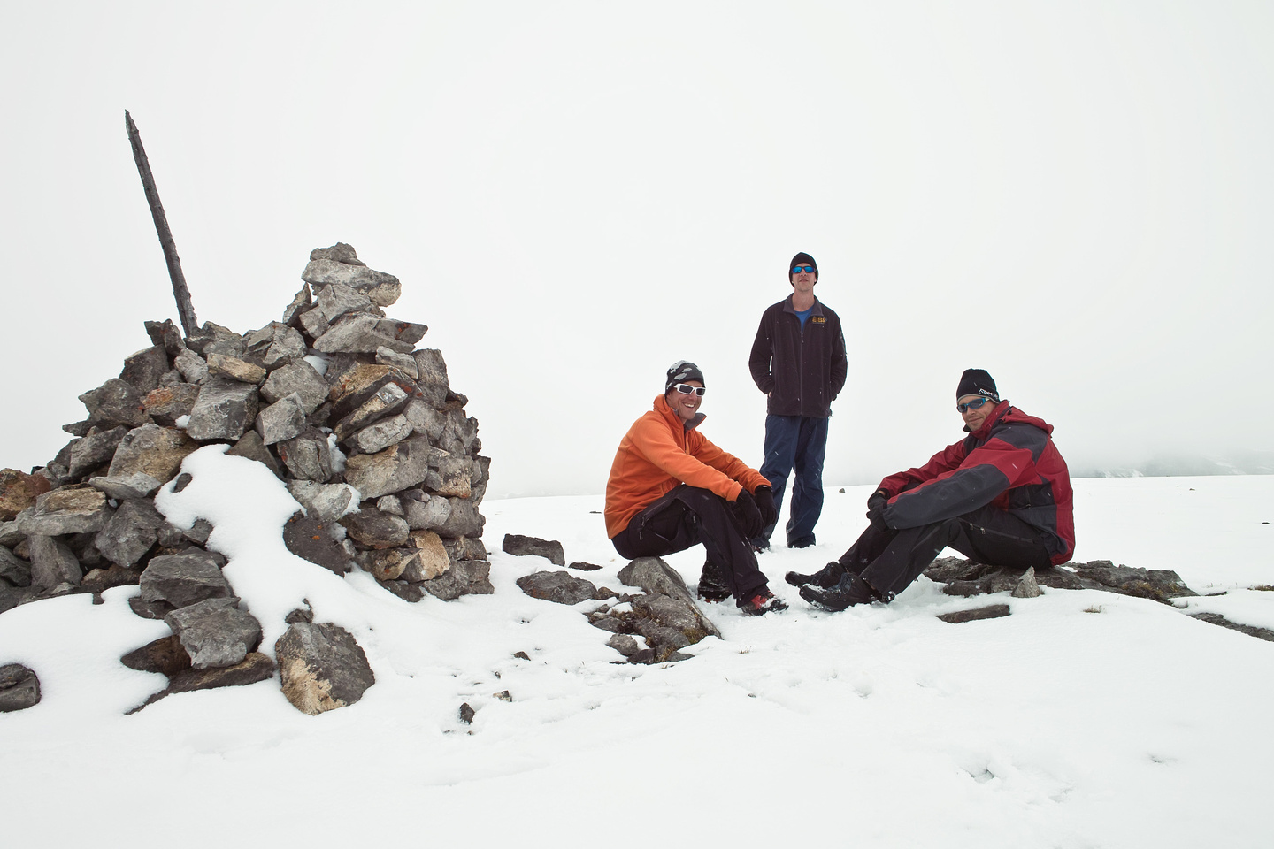 The boys back at the main cairn.