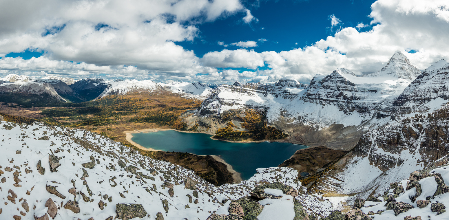 Wonderful panoramic views over Lake Magog, including the Cautley Traverse at left and Mount Assiniboine at right.