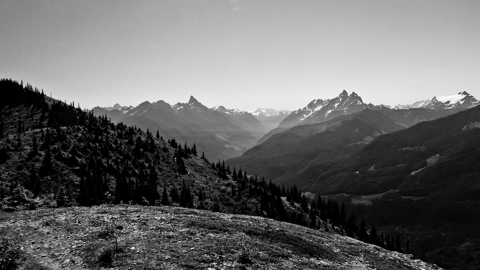 Looking up the valley between the Border Peaks and Mount Slesse.